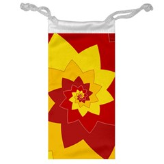 Flower Blossom Spiral Design  Red Yellow Jewelry Bags by designworld65