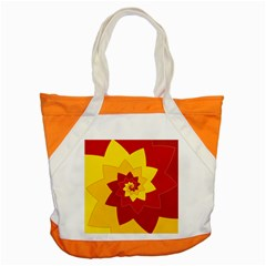 Flower Blossom Spiral Design  Red Yellow Accent Tote Bag by designworld65
