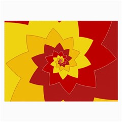 Flower Blossom Spiral Design  Red Yellow Large Glasses Cloth by designworld65