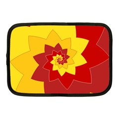 Flower Blossom Spiral Design  Red Yellow Netbook Case (medium)  by designworld65