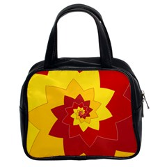 Flower Blossom Spiral Design  Red Yellow Classic Handbags (2 Sides) by designworld65
