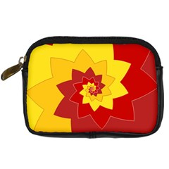 Flower Blossom Spiral Design  Red Yellow Digital Camera Cases by designworld65
