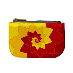 Flower Blossom Spiral Design  Red Yellow Mini Coin Purses by designworld65