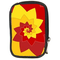 Flower Blossom Spiral Design  Red Yellow Compact Camera Cases by designworld65