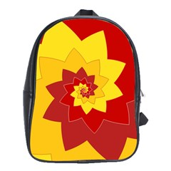 Flower Blossom Spiral Design  Red Yellow School Bags(large)  by designworld65