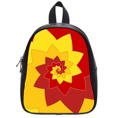 Flower Blossom Spiral Design  Red Yellow School Bags (small)  by designworld65