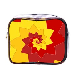 Flower Blossom Spiral Design  Red Yellow Mini Toiletries Bags by designworld65