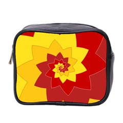 Flower Blossom Spiral Design  Red Yellow Mini Toiletries Bag 2 Side by designworld65