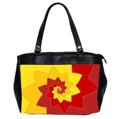 Flower Blossom Spiral Design  Red Yellow Office Handbags (2 Sides)  by designworld65