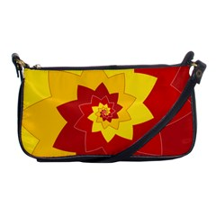 Flower Blossom Spiral Design  Red Yellow Shoulder Clutch Bags by designworld65