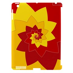 Flower Blossom Spiral Design  Red Yellow Apple Ipad 3/4 Hardshell Case (compatible With Smart Cover) by designworld65