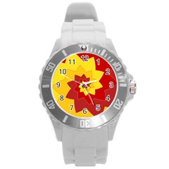 Flower Blossom Spiral Design  Red Yellow Round Plastic Sport Watch (l) by designworld65