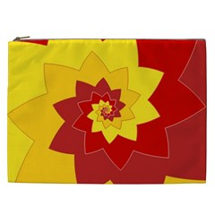 Flower Blossom Spiral Design  Red Yellow Cosmetic Bag (xxl)  by designworld65