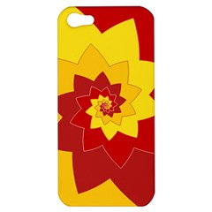 Flower Blossom Spiral Design  Red Yellow Apple Iphone 5 Hardshell Case by designworld65