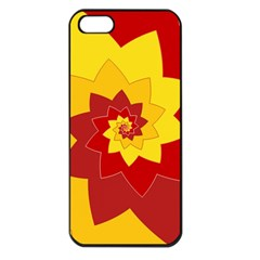 Flower Blossom Spiral Design  Red Yellow Apple Iphone 5 Seamless Case (black) by designworld65