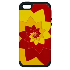 Flower Blossom Spiral Design  Red Yellow Apple Iphone 5 Hardshell Case (pc+silicone) by designworld65