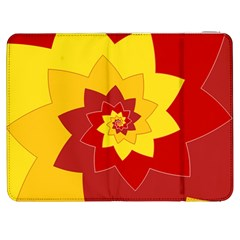 Flower Blossom Spiral Design  Red Yellow Samsung Galaxy Tab 7  P1000 Flip Case by designworld65