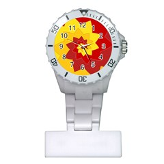 Flower Blossom Spiral Design  Red Yellow Plastic Nurses Watch
