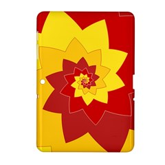 Flower Blossom Spiral Design  Red Yellow Samsung Galaxy Tab 2 (10 1 ) P5100 Hardshell Case  by designworld65