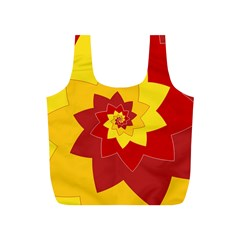 Flower Blossom Spiral Design  Red Yellow Full Print Recycle Bags (s)  by designworld65
