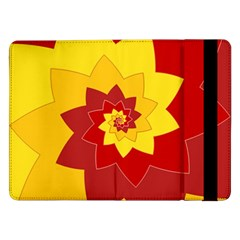 Flower Blossom Spiral Design  Red Yellow Samsung Galaxy Tab Pro 12 2  Flip Case by designworld65