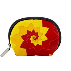 Flower Blossom Spiral Design  Red Yellow Accessory Pouches (small)  by designworld65