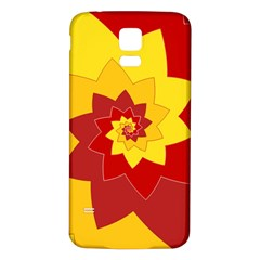 Flower Blossom Spiral Design  Red Yellow Samsung Galaxy S5 Back Case (white) by designworld65
