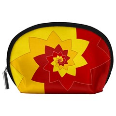Flower Blossom Spiral Design  Red Yellow Accessory Pouches (large)  by designworld65