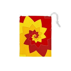 Flower Blossom Spiral Design  Red Yellow Drawstring Pouches (small)  by designworld65