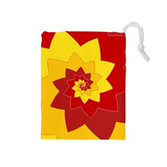 Flower Blossom Spiral Design  Red Yellow Drawstring Pouches (medium)  by designworld65