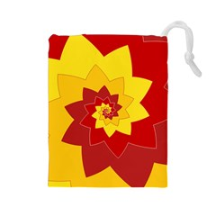 Flower Blossom Spiral Design  Red Yellow Drawstring Pouches (large)  by designworld65
