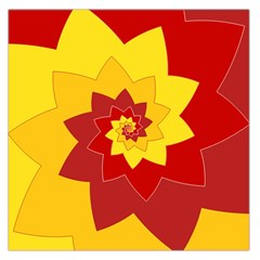 Flower Blossom Spiral Design  Red Yellow Large Satin Scarf (square) by designworld65
