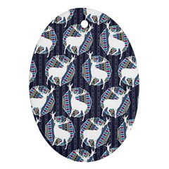 Geometric Deer Retro Pattern Oval Ornament (two Sides) by DanaeStudio