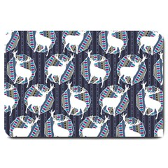 Geometric Deer Retro Pattern Large Doormat  by DanaeStudio