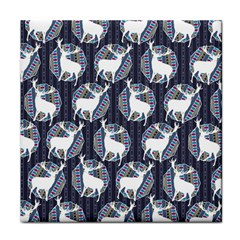 Geometric Deer Retro Pattern Face Towel by DanaeStudio