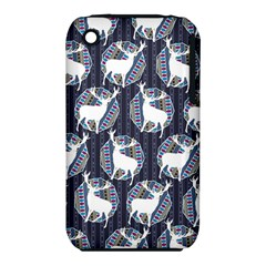 Geometric Deer Retro Pattern Apple Iphone 3g/3gs Hardshell Case (pc+silicone) by DanaeStudio