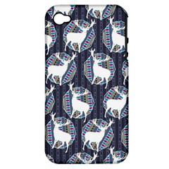 Geometric Deer Retro Pattern Apple Iphone 4/4s Hardshell Case (pc+silicone) by DanaeStudio