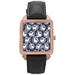 Geometric Deer Retro Pattern Rose Gold Leather Watch  Front