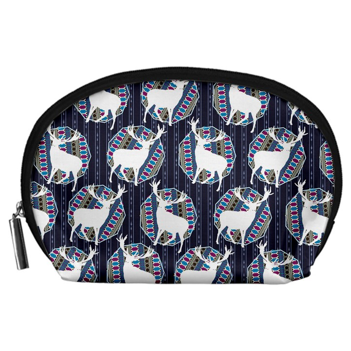 Geometric Deer Retro Pattern Accessory Pouches (Large)