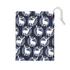 Geometric Deer Retro Pattern Drawstring Pouches (large)  by DanaeStudio