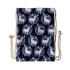 Geometric Deer Retro Pattern Drawstring Bag (small) by DanaeStudio