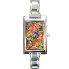 Colorful Mosaic Rectangle Italian Charm Watch