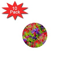 Colorful Mosaic 1  Mini Buttons (10 Pack)  by DanaeStudio
