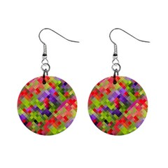 Colorful Mosaic Mini Button Earrings by DanaeStudio