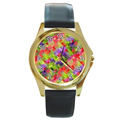 Colorful Mosaic Round Gold Metal Watch by DanaeStudio