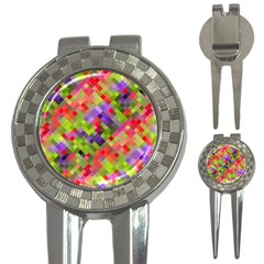 Colorful Mosaic 3 In 1 Golf Divots by DanaeStudio