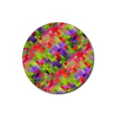 Colorful Mosaic Rubber Round Coaster (4 Pack)  by DanaeStudio