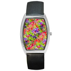 Colorful Mosaic Barrel Style Metal Watch by DanaeStudio