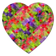 Colorful Mosaic Jigsaw Puzzle (heart) by DanaeStudio