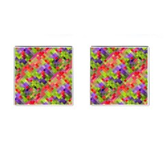 Colorful Mosaic Cufflinks (square) by DanaeStudio